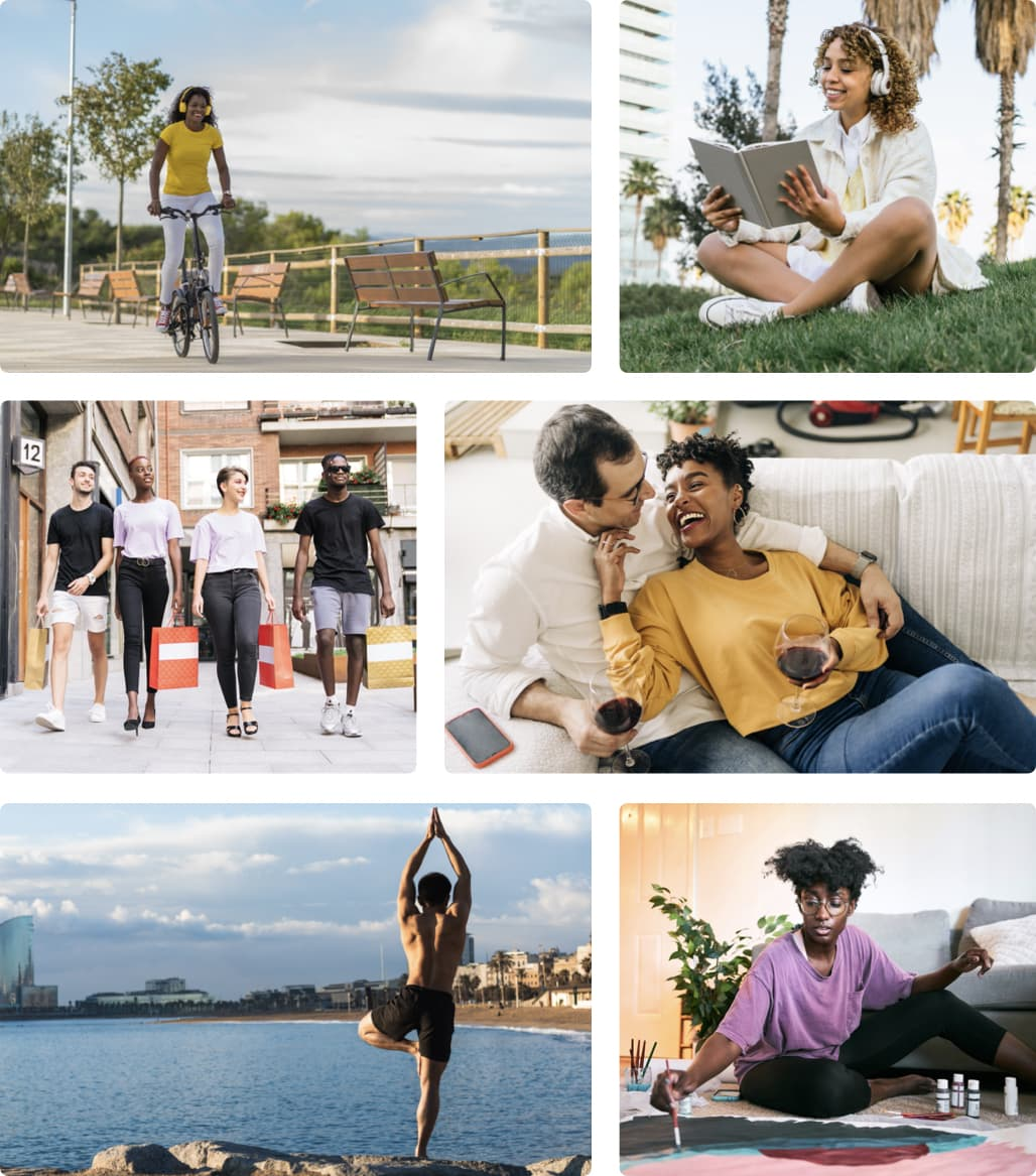 Lifestyle photo grid of beautiful Black, Hispanic, Asian and indigenous people of color