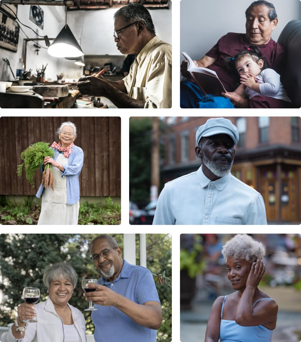 Active Senior photo grid of beautiful Black, Hispanic, Asian and indigenous people of color